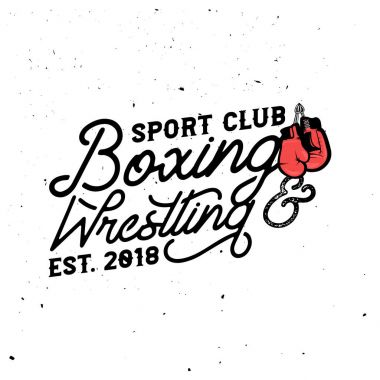 Boxing & wrestling themed retro logo templates in vintage style with grunge effect.