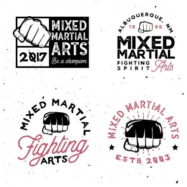 MMA logo templates in vintage style. Gym and fintess MMA.
