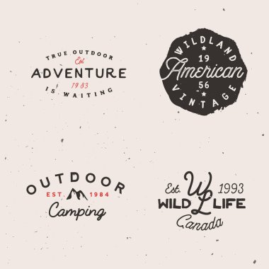 Adventure themed logotypes, retro logo templates in minimal vintage style.