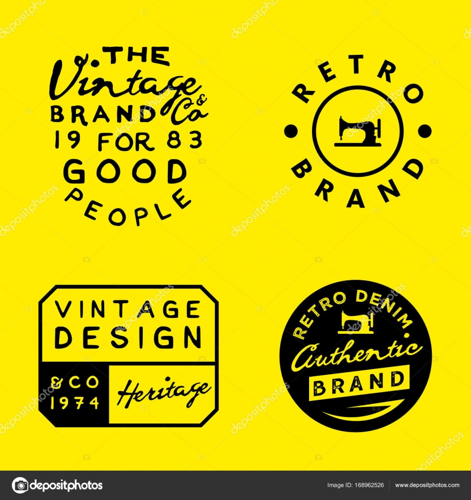 0c2702229a Vintage logo sablonok sárga háttéren. Vintage denim, ruházat, ruházati  minták — Stock Vector