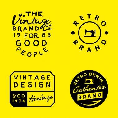 Vintage logo templates on yellow background. Vintage denim, clothing, apparel designs.
