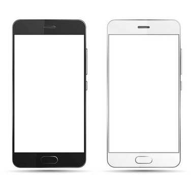 Black and white smartphones isolated with blank screen.