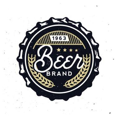 Retro beer cap in vintage style. Beer branding