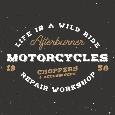 Retro motorcycle badge in vintage style. Label on moto theme.