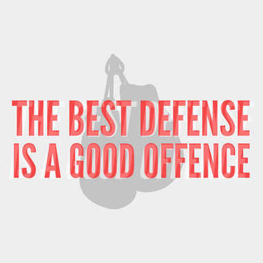 Boxing themed motivational poster. The best deffense is a good offence.