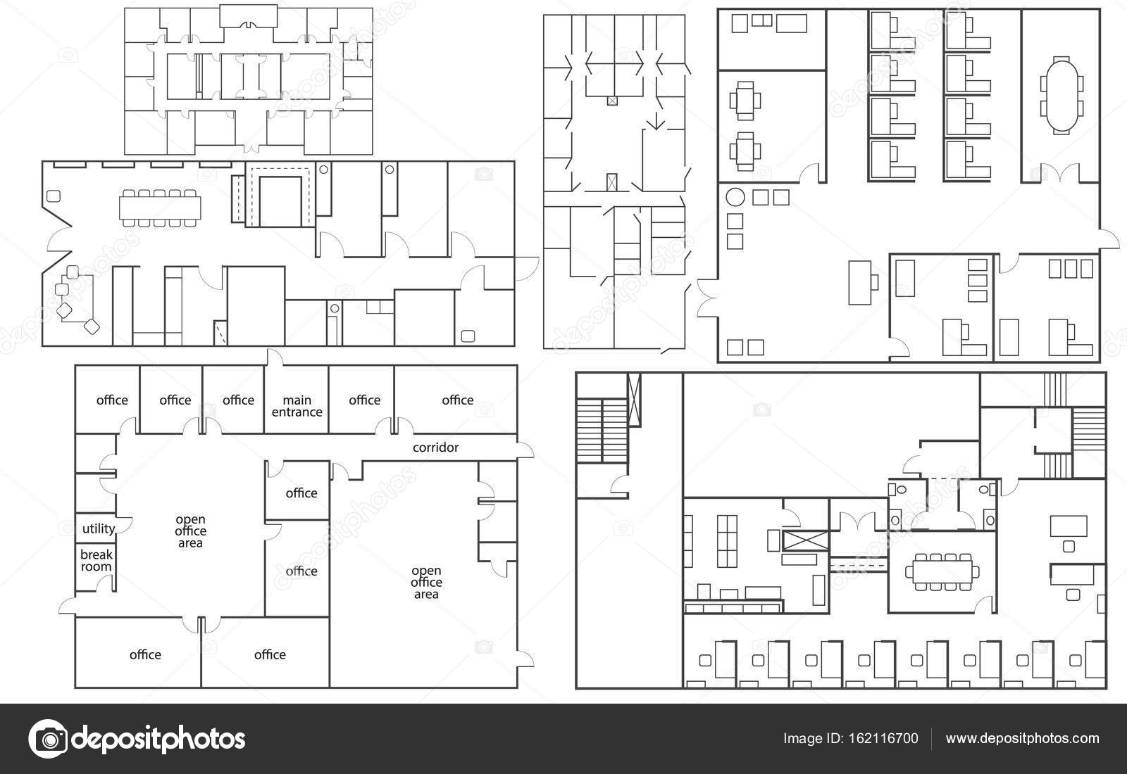 Büro-Grundrisse-set — Stockvektor © Denisxize #162116700