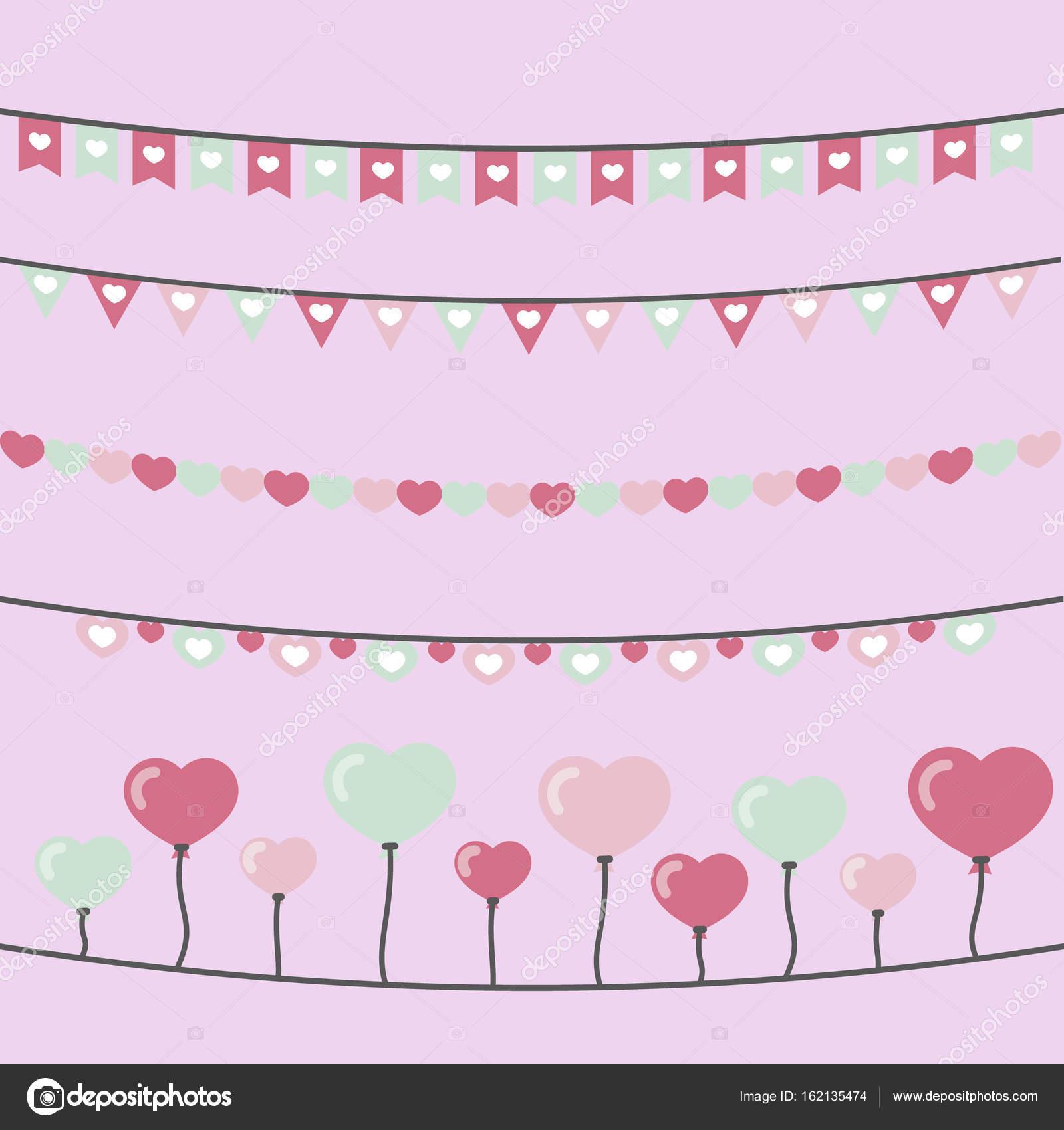 Süße Herz-Girlanden — Stockvektor © Denisxize #162135474