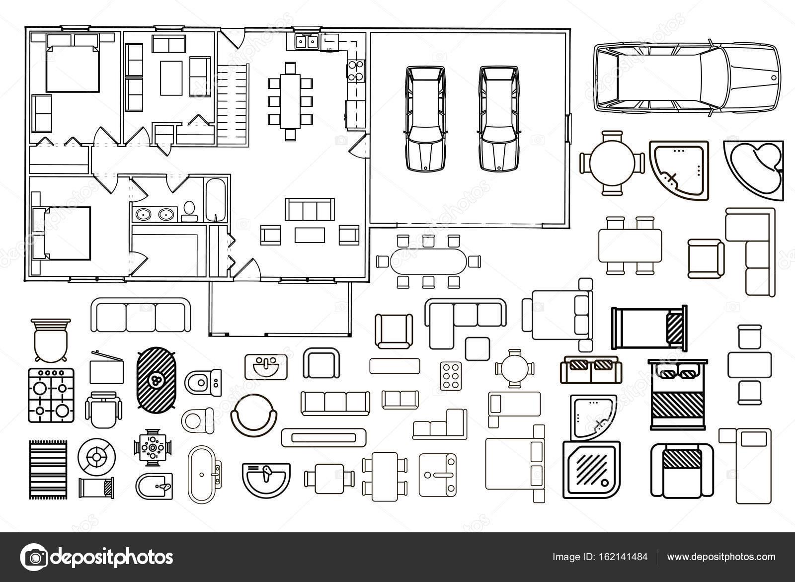 Programma di architettura con mobili in vista dall 39 alto for Programma di architettura
