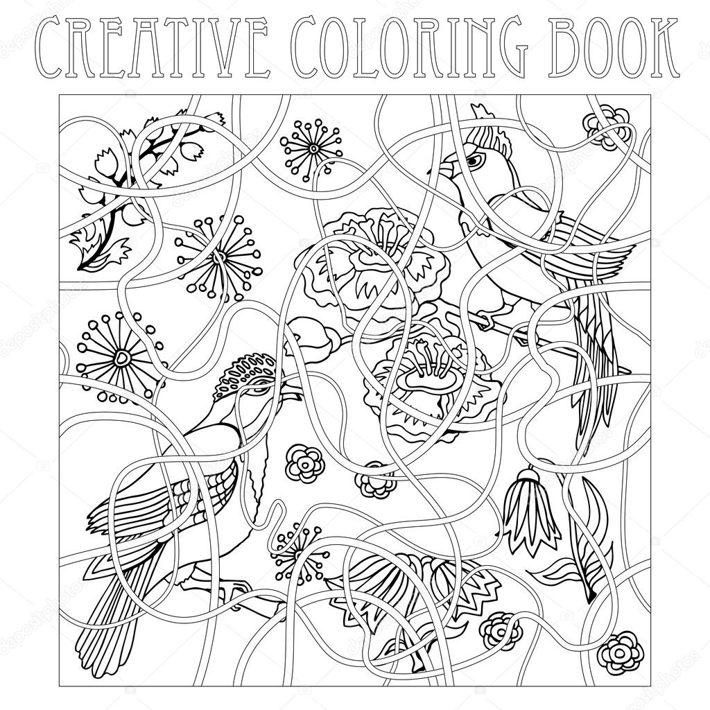 Paradise Birds In Japanese Garden Creative Coloring Book Inspired