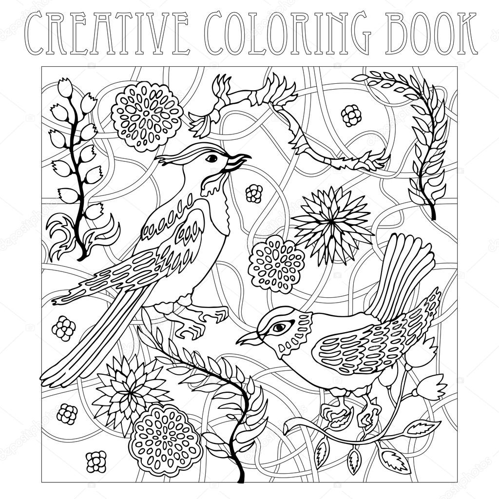 Aves de paraíso en el jardín japonés. Libro de colorear creativo ...