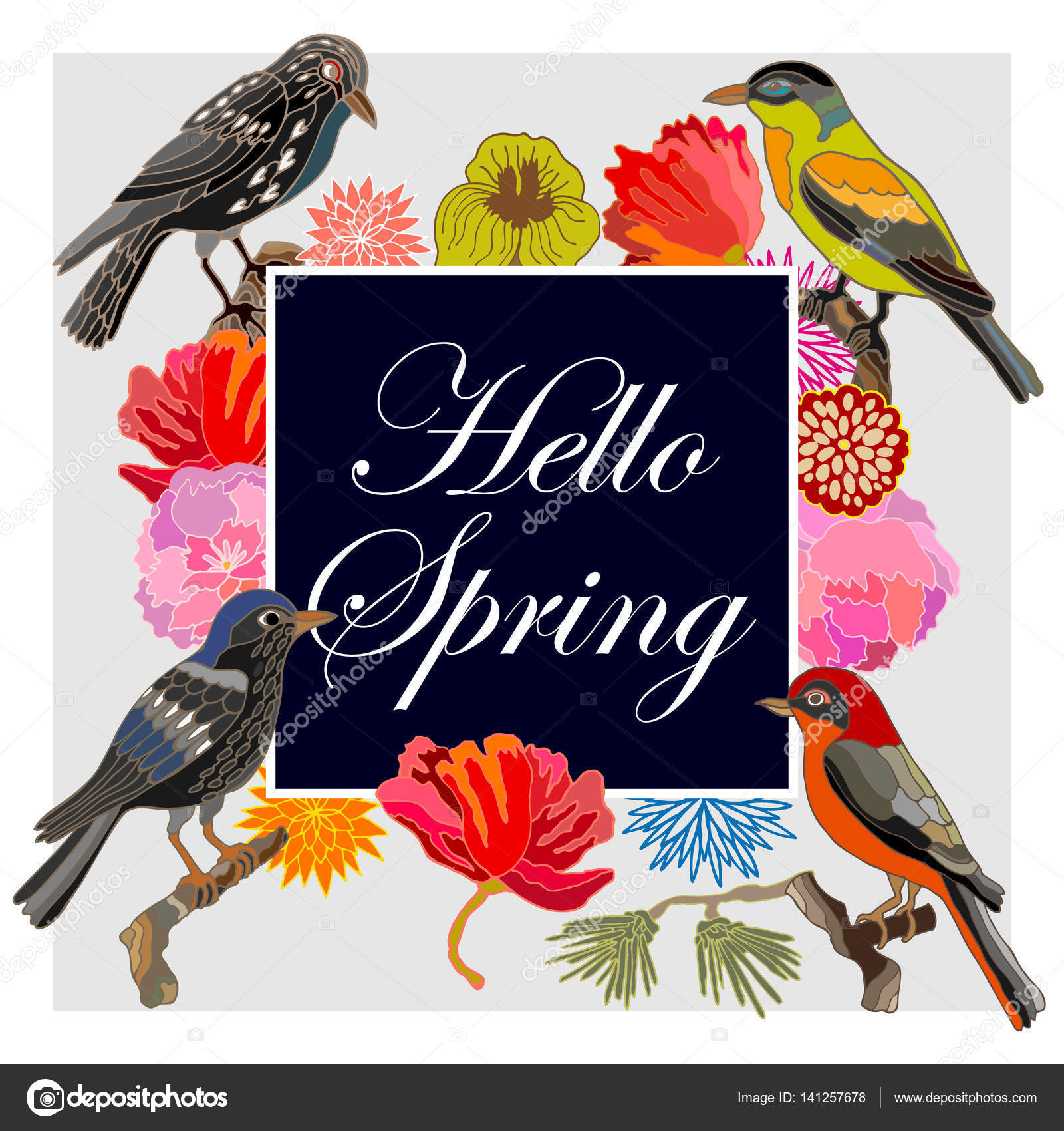 Hello Spring Vintage Card With Fantasy Birds And Flowers Stock Vector