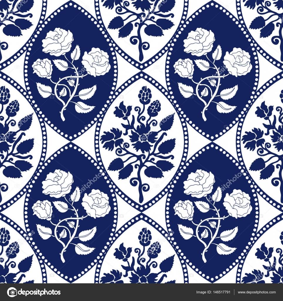 Seamless geometrical damask pattern with Art Nouveau motifs. — Stock ...
