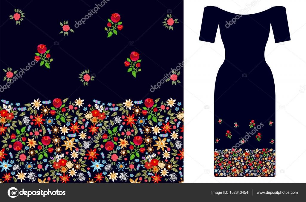 Boho Wildblumen. Party Kleid design — Stockvektor © SvetlanaKononova ...
