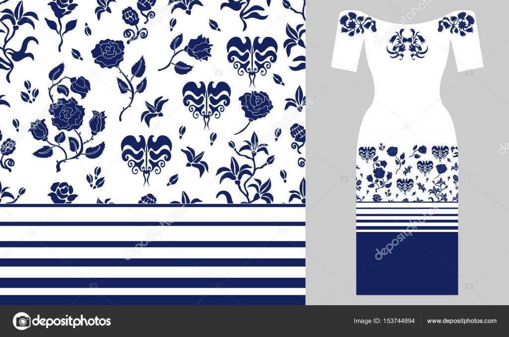 Ornamento del persa estilizada. Diseño de vestido de fiesta — Vector ...