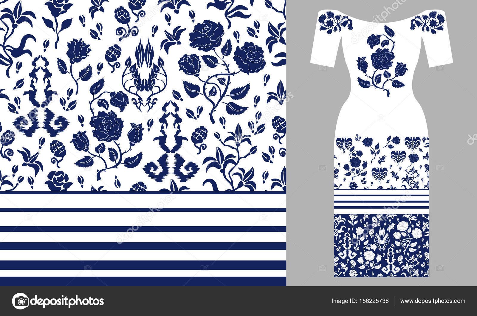 Flores azules silvestres y elementos de estilo persa — Vector de ...