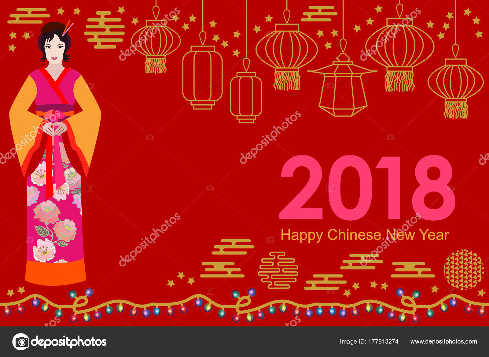 happy chinese new year card beautiful asian girl in festive dress and oriental lanterns on