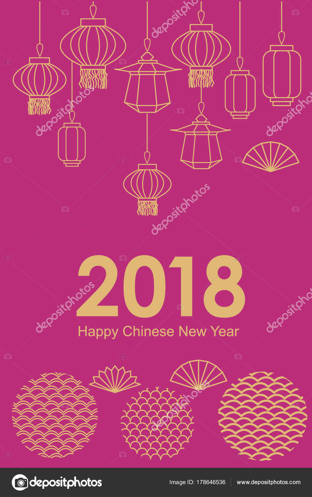 Korean traditional ornaments stock vectors royalty free korean happy chinese new year card abstract geometric ornaments lighting garland and oriental lanterns and kristyandbryce Images
