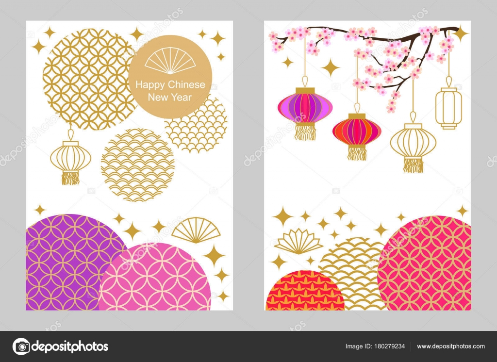 Happy Chinese New Year cards set. Colorful abstract geometric ...