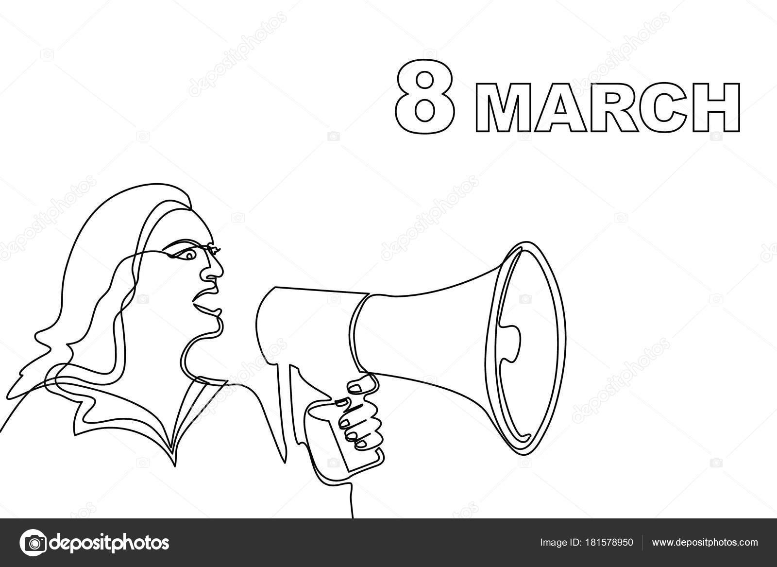 Tarjeta Día Internacional De La Mujer Concepto De Protesta De Las