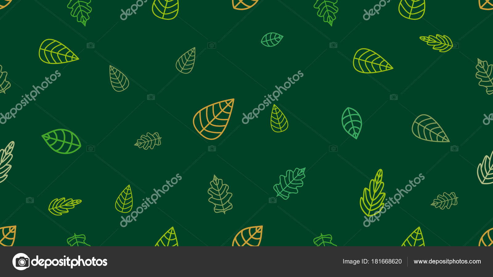 Green And Golden Wrapping Leaves On Emerald Background Stock Vector