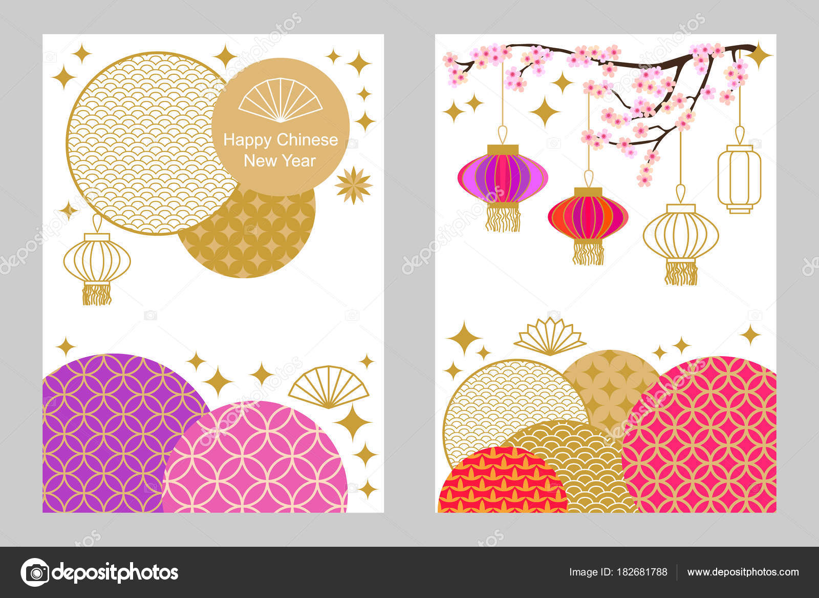 Happy Chinese New Year cards set. Colorful abstract ornate circles ...