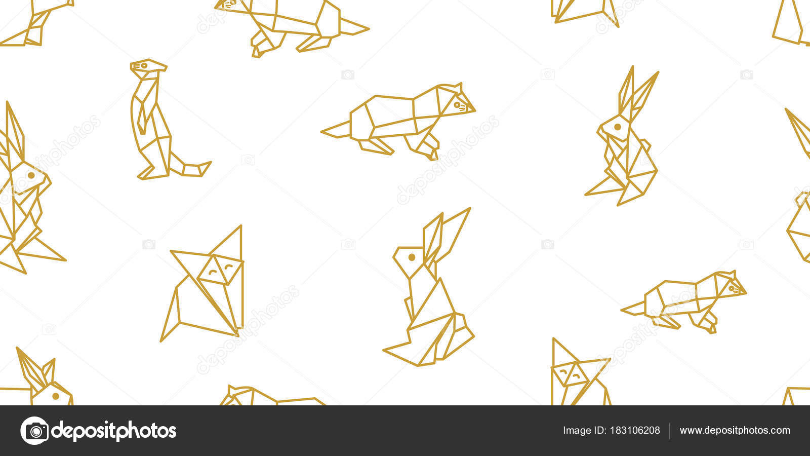 Origami animals seamless vector pattern with hares foxes otters origami animals seamless vector pattern with hares foxes otters stock vector jeuxipadfo Choice Image