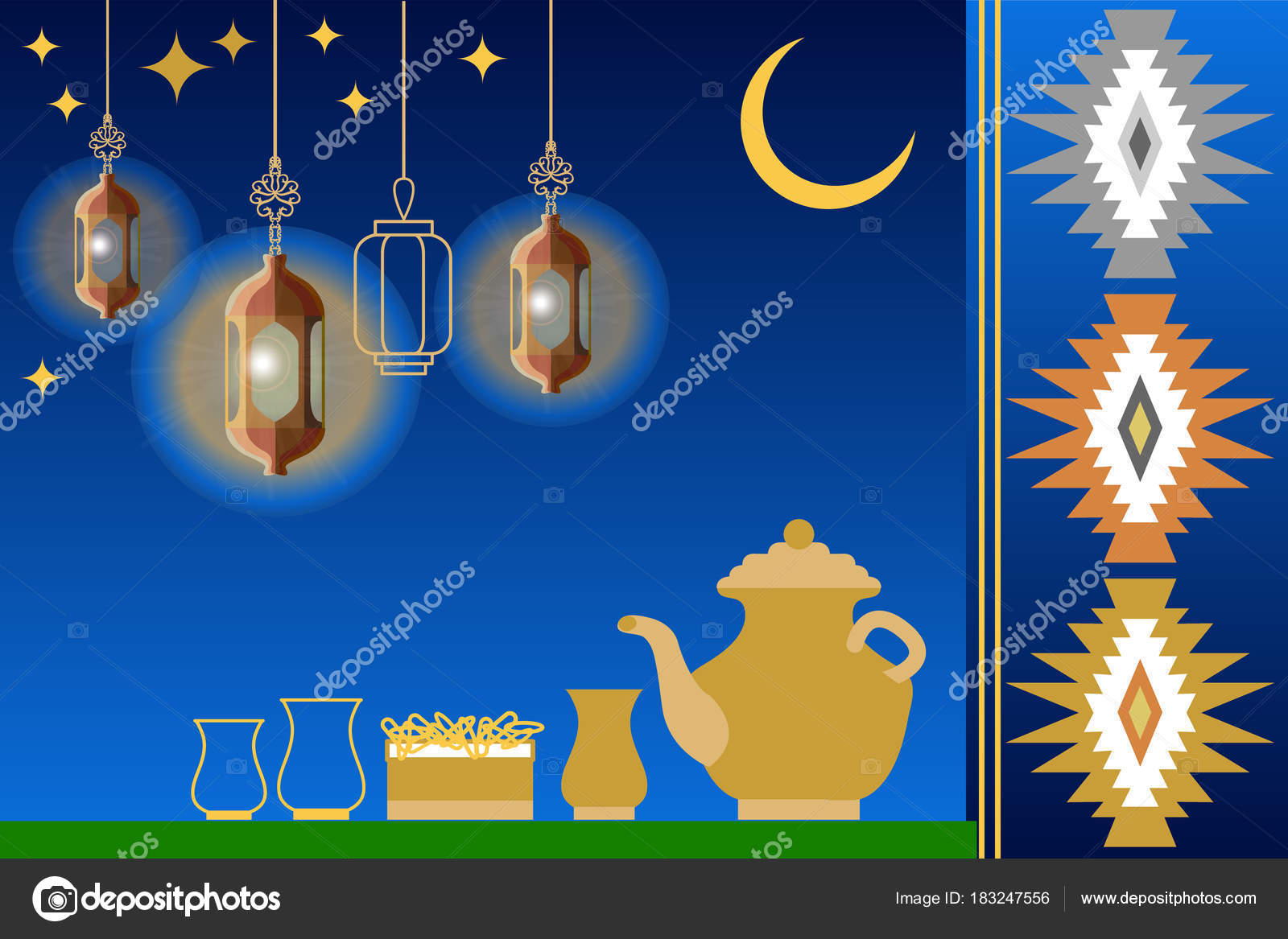 Iftar party greeting card food drink crescent moon stars template for ramadan kareem greeting cards covers banners posters design inspired by turkish and arabic art vector by svetlanakononova m4hsunfo
