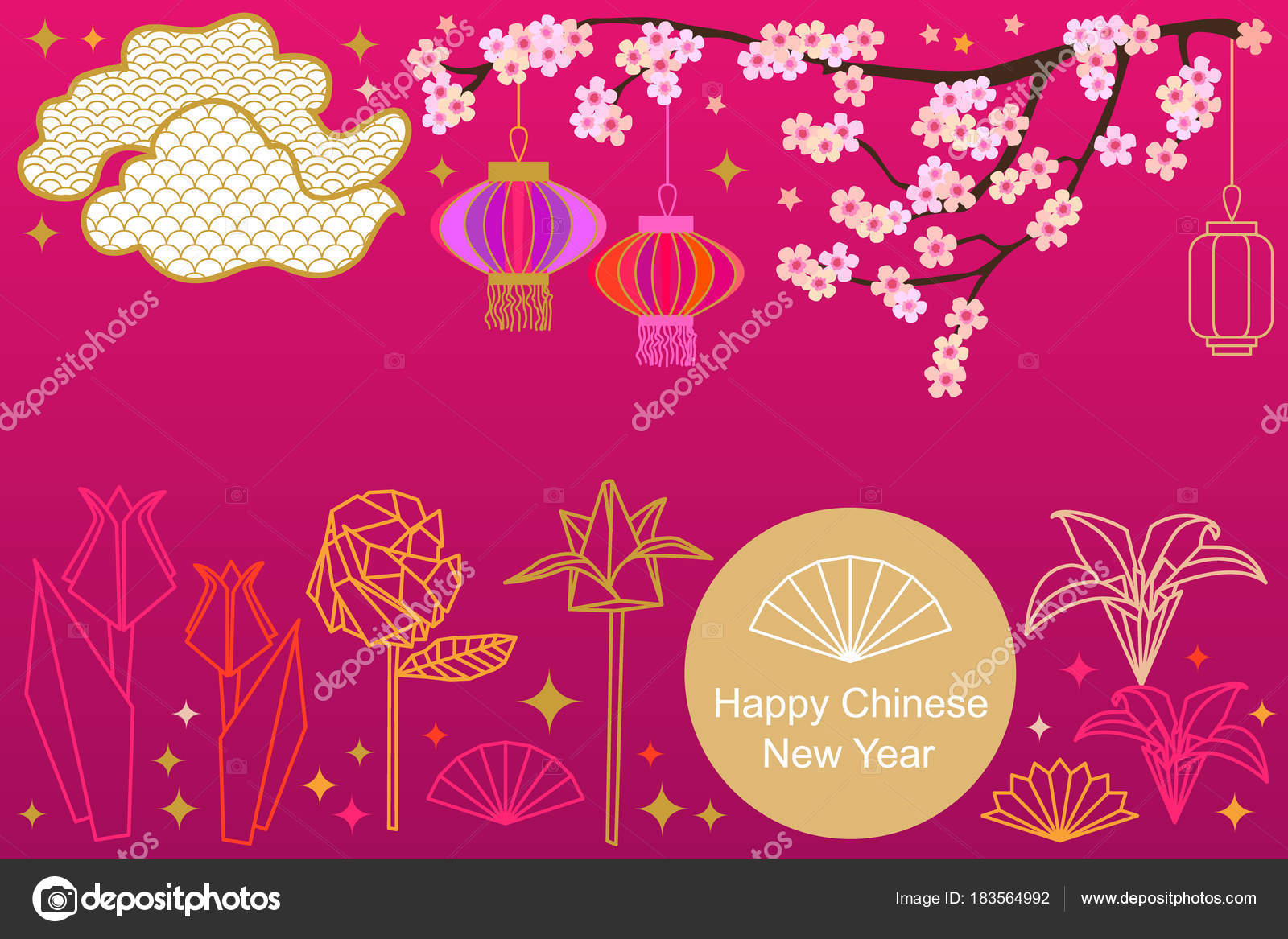 Happy Chinese New Year Card Colorful Abstract Ornate Circles Clouds Origami Flowers And