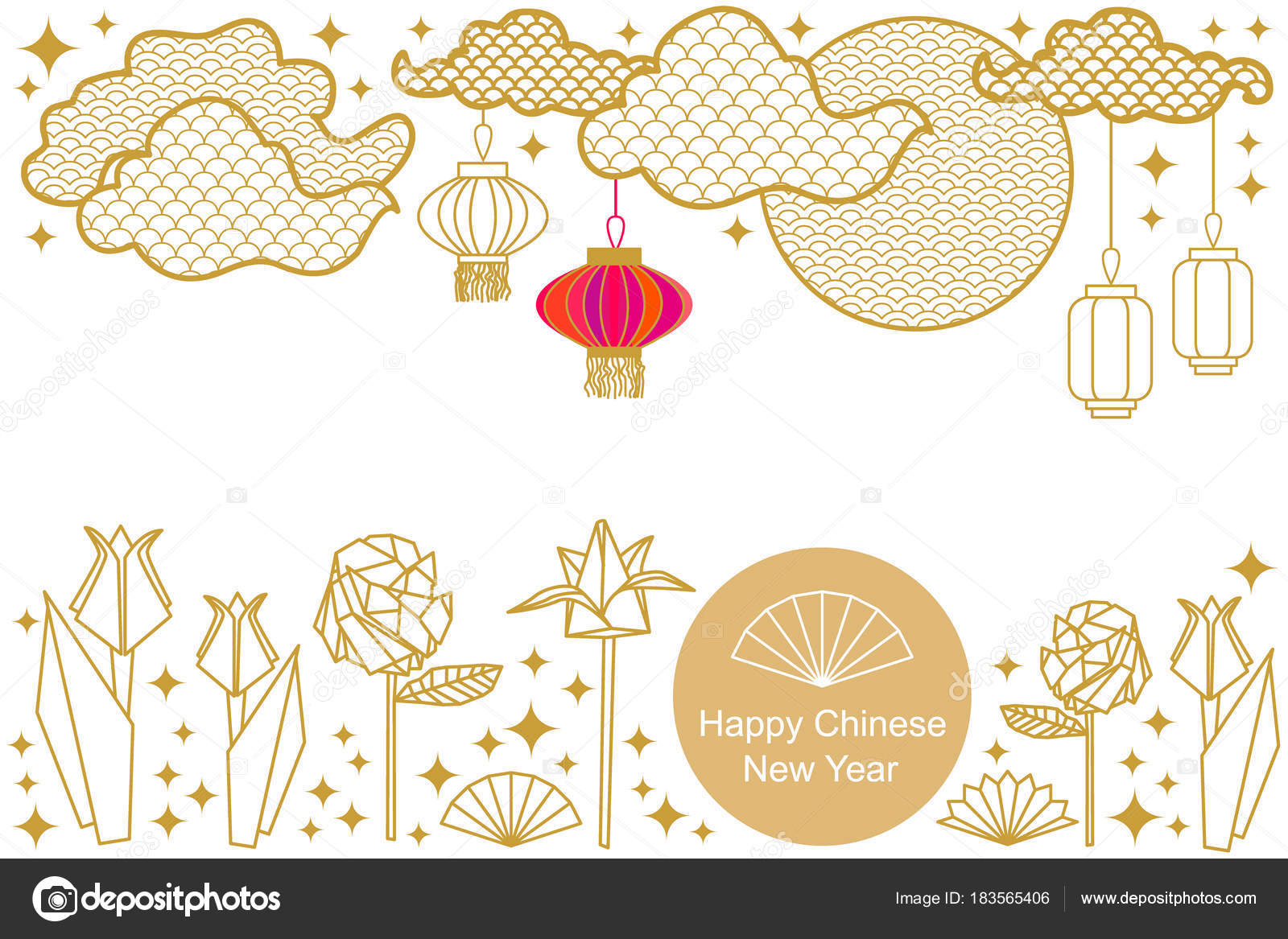 Happy Chinese New Year card. Colorful abstract ornate circles ...