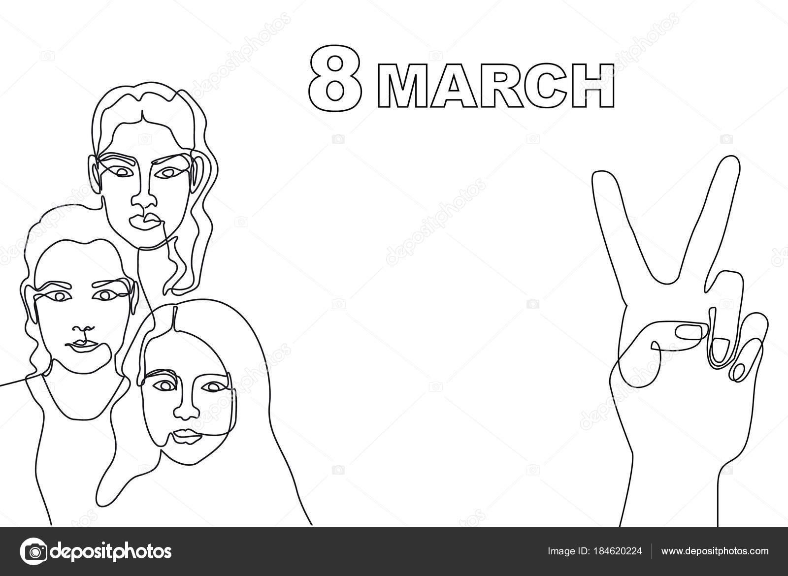 Mutlu Dünya Kadınlar Günü Kartı Sürekli çizgi çizme Stok Vektör