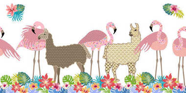 Creative animal print. Seamless vector pattern with llamas, flamingos and flowers.