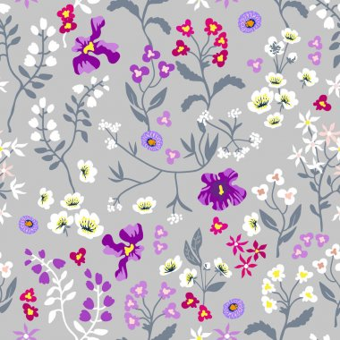 Seamless print with wild flowers.