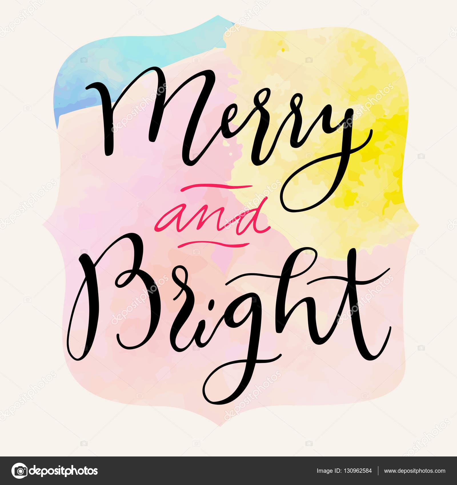 Merry and Bright Christmas card — Stock Vector © babayuka #130962584