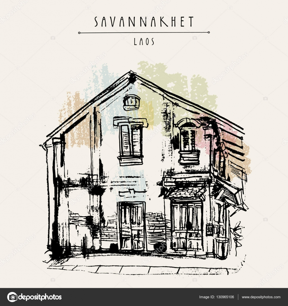 Old building in Savannakhet, former French colonial town, Laos, Southeast  Asia. Vintage hand drawn touristic postcard, poster \u2014 ベクターbabayuka