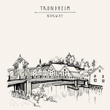 Riverside and historic bridge in Trondheim, Norway