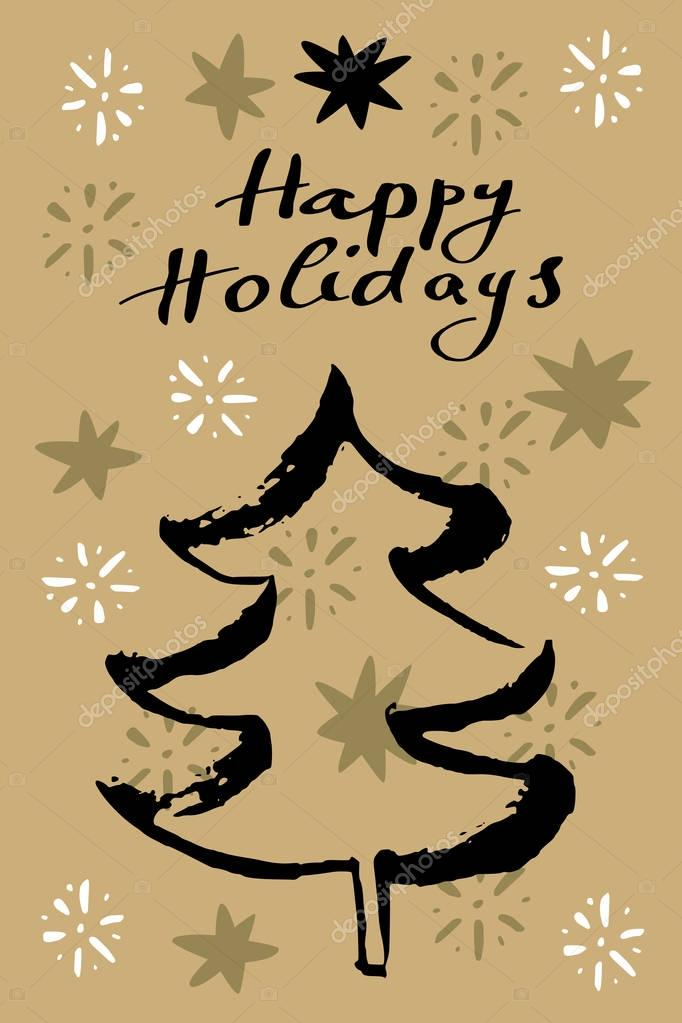 greeting card with inscription Happy Holidays