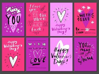 Set of valentines day cards, vector illustration clip art vector