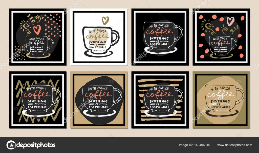 Inspirational Coffee Quotes Stock Vector Babayuka 140494010