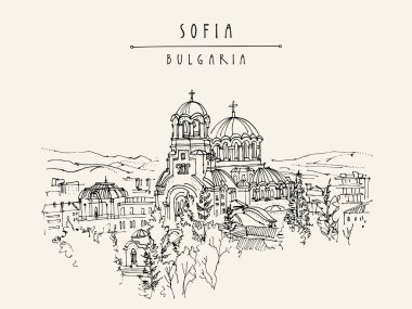 postcard with Cathedral in Sofia