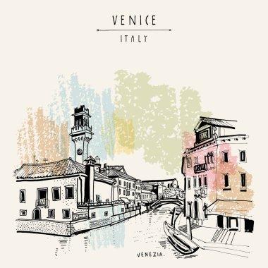 Hand drawn postcard of Venice