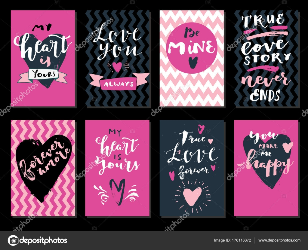 Set Love Quotes Hearts Heart Yours Forever Amore Mine Love Stock
