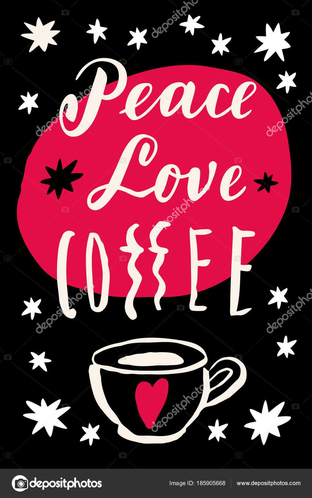 Ironische Weihnachtsgrüße.Peace Love Coffee Ironisches Zitat Vintage Vektor Postkarte