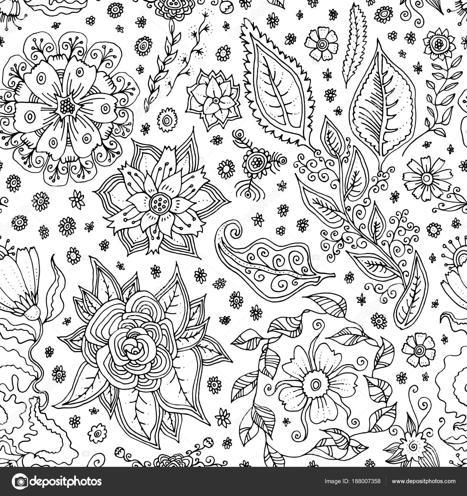 Vector Seamless Pattern Spring Flowers Black White Hand Drawn Floral