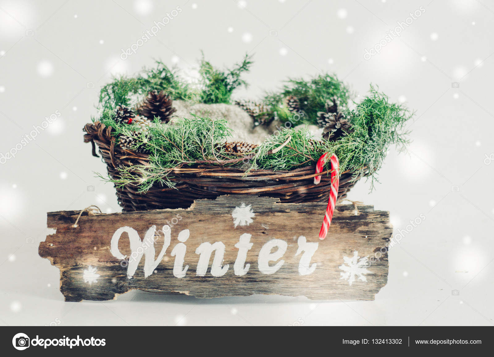 basket baby decorations lettering winter snow spruce arborvitae pine cones photo by tanyaxbtgmailcom