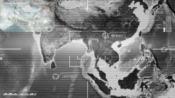Map Of Asia Video.Asia Closeup Map High Tech Scanning Grey Stock Video