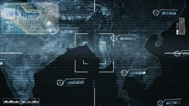 Map Of Asia Video.Asia Map High Tech Scanning Blue Stock Video