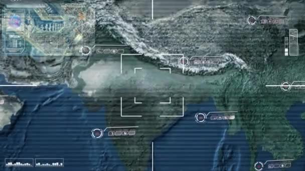 Map Of Asia Video.Asia Central Map High Tech Scanning Blue Stock Video