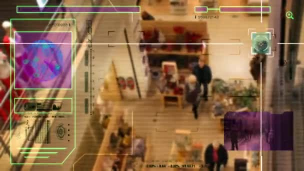High Tech - Security Scan - Mall - people walking - Shopping Centre - High Angle Shot - purple - HD