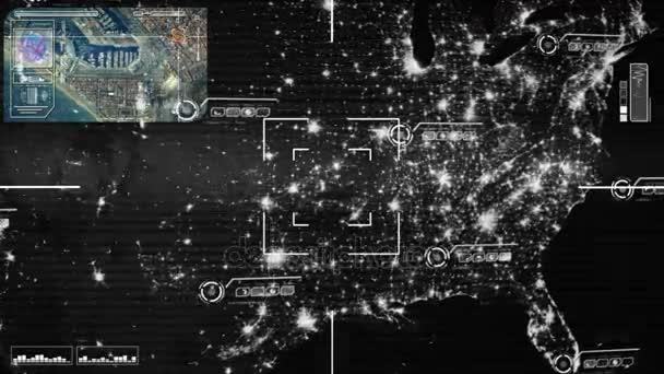 Map Of Usa At Night.Usa Night Map High Tech Scanning Grey Stock Video