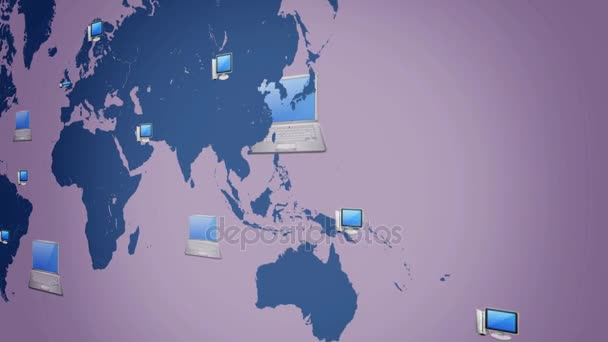 computer background world moving from right to left vector animation black background
